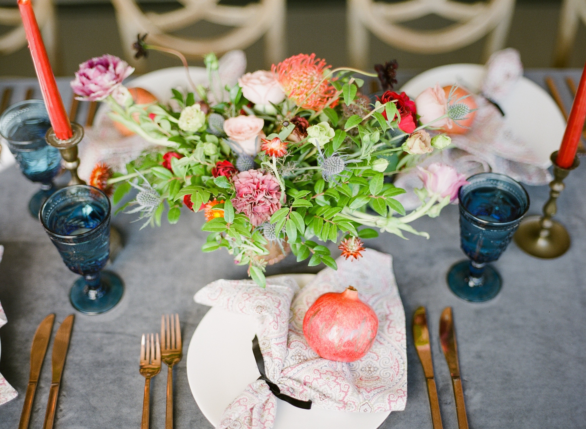 Orange, green and white place setting