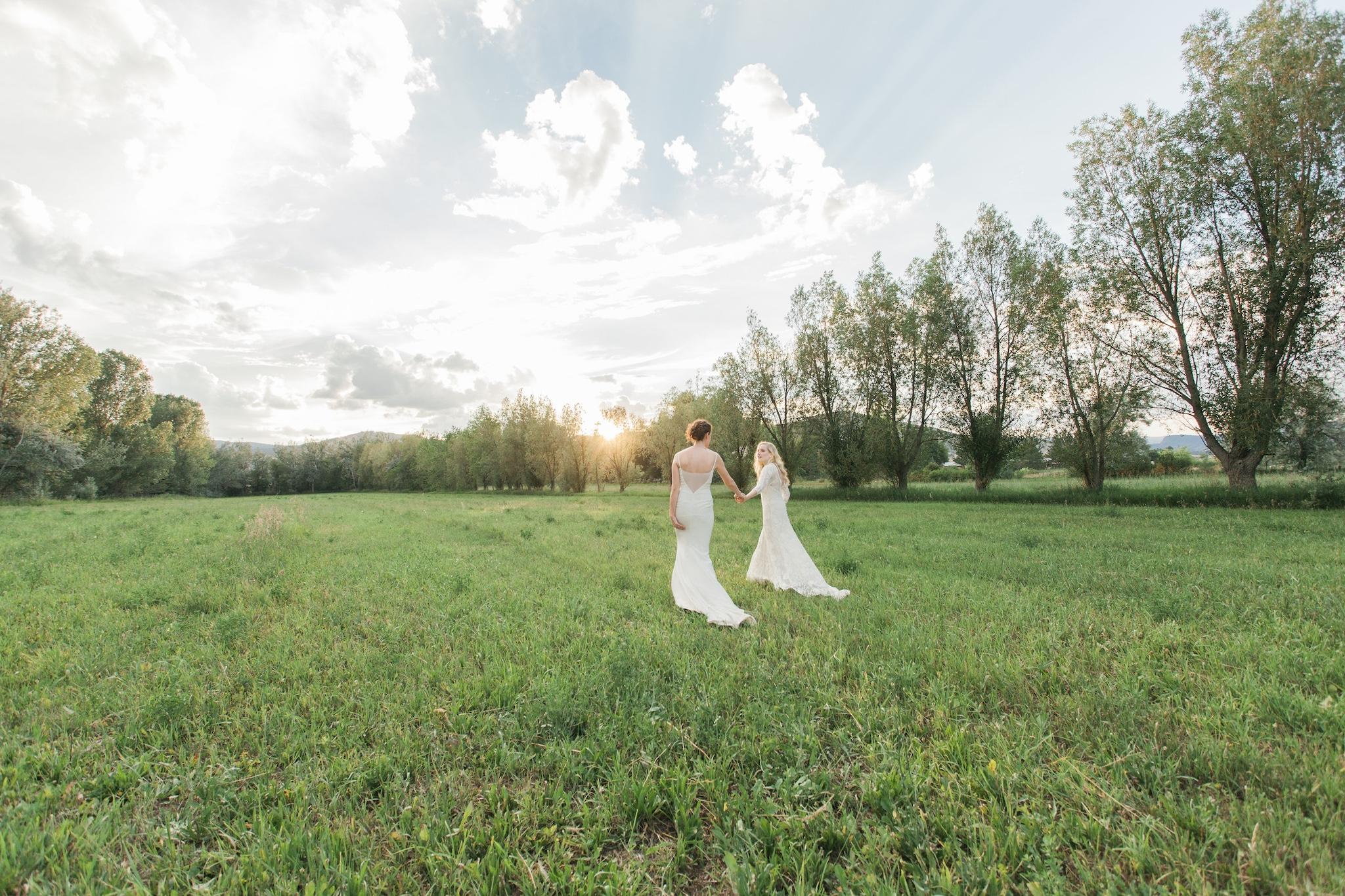 Brides in grass field