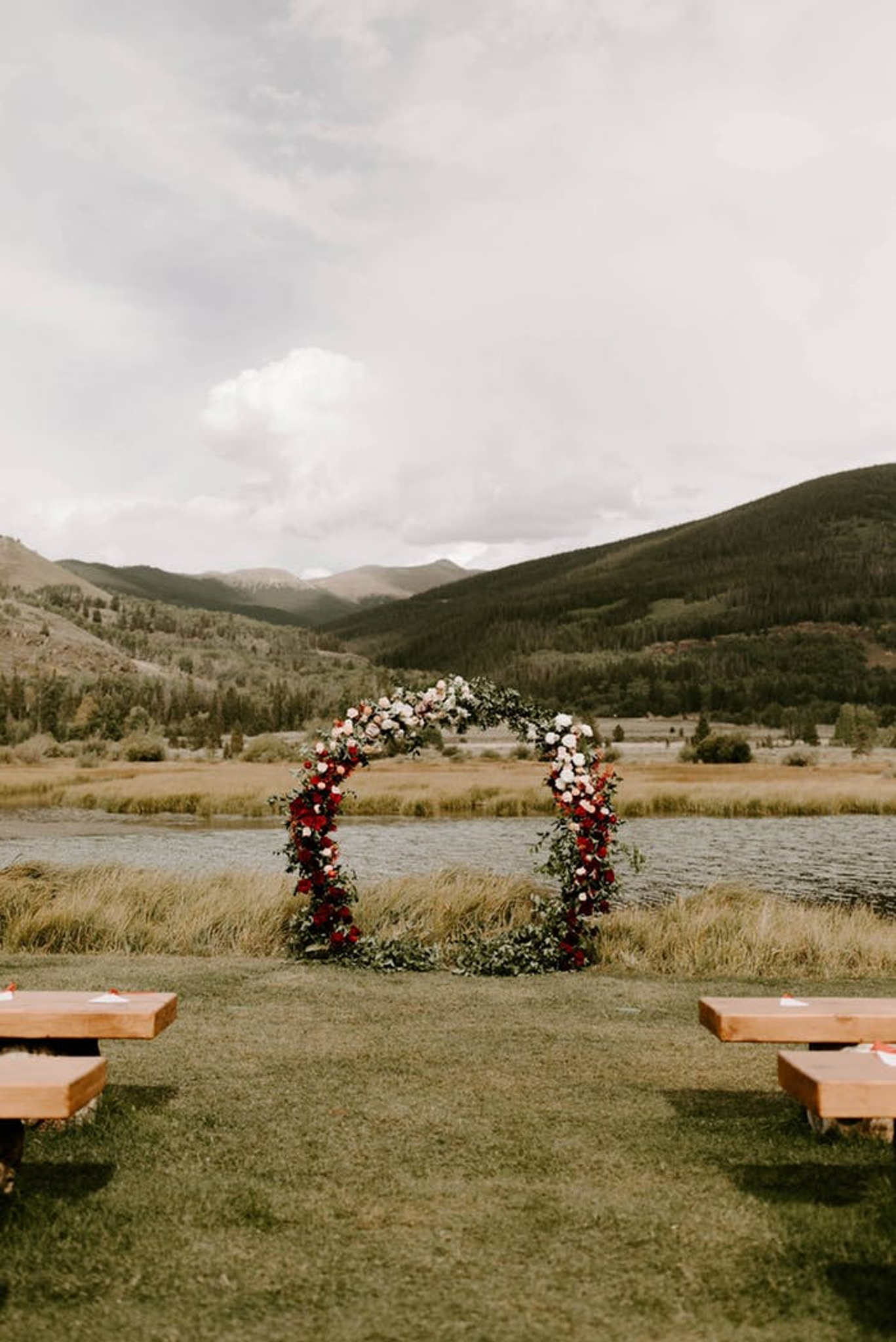 Floral circular wedding arch