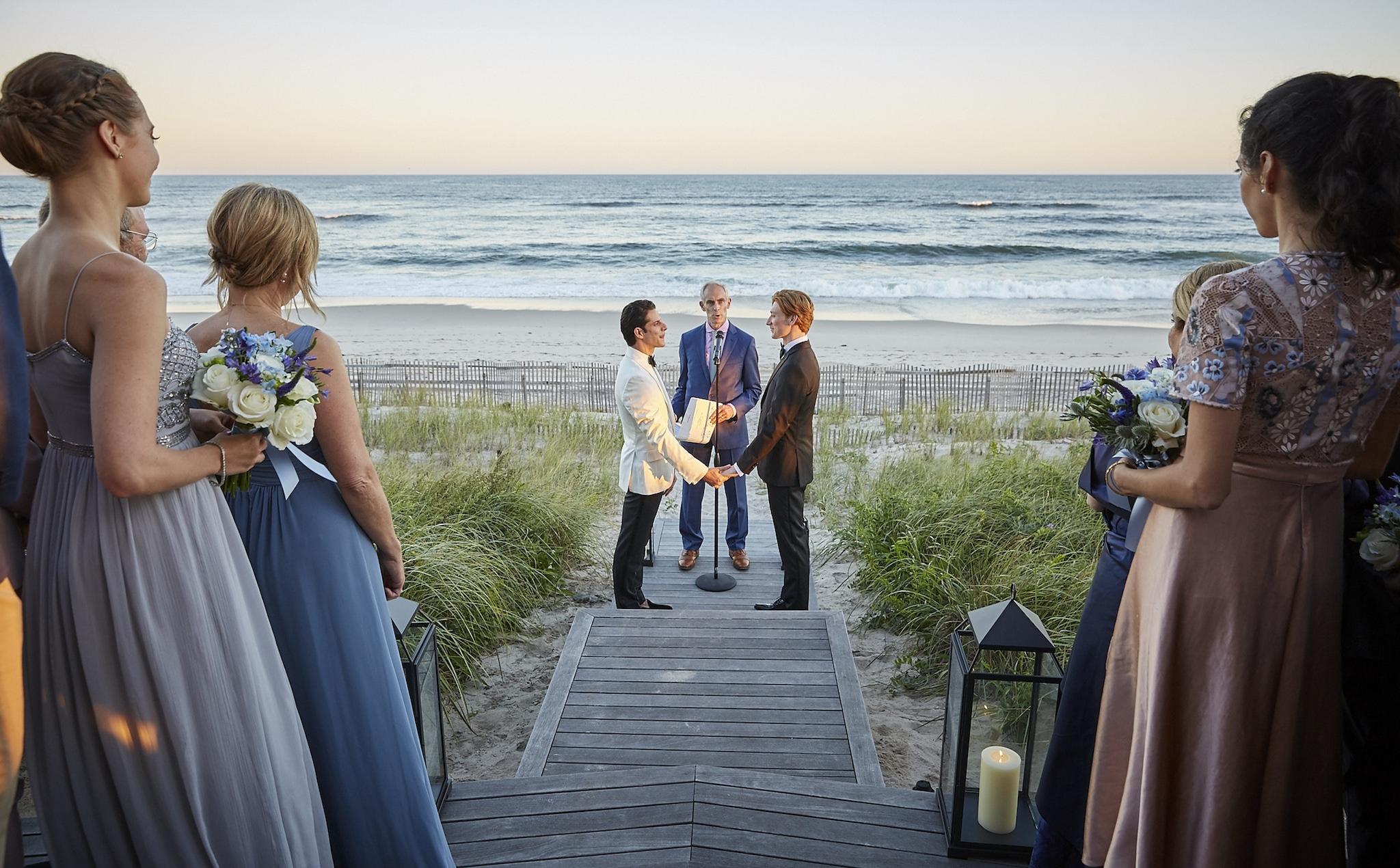 Same-sex beach wedding