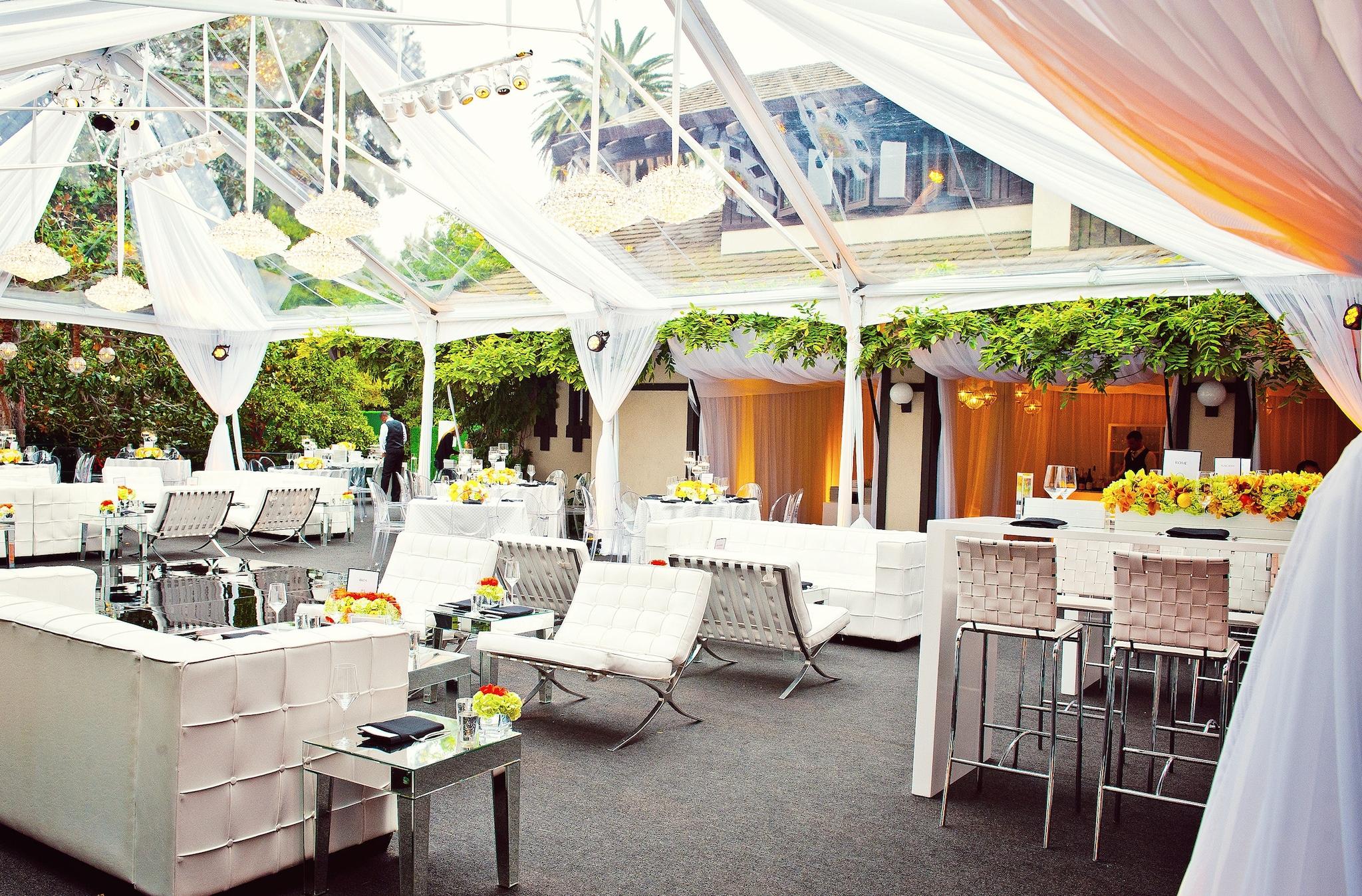 Orange, white and green wedding decor