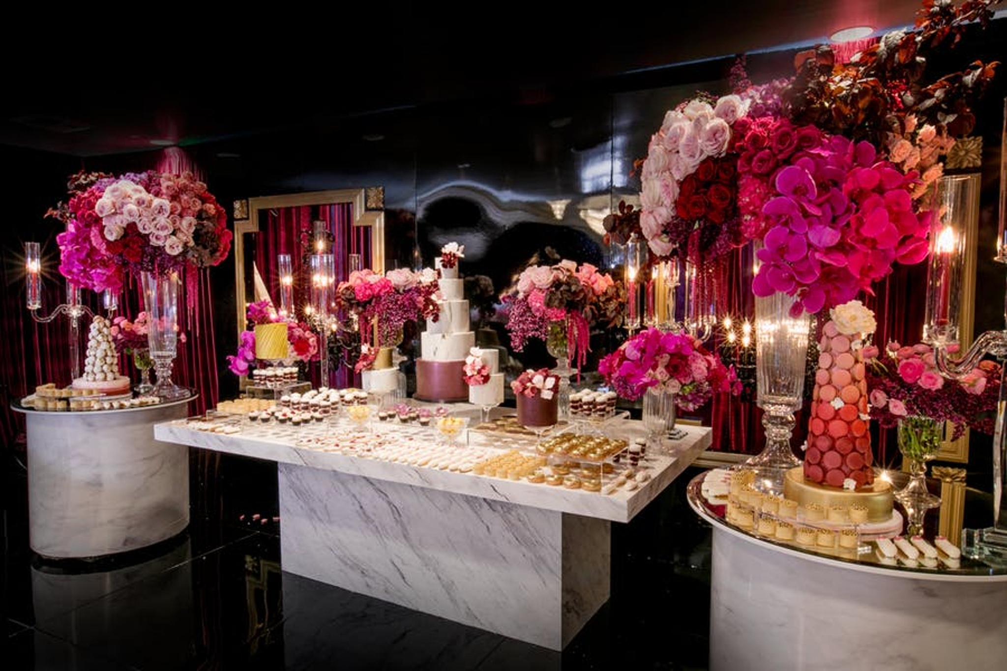 Pink, purple, and marble dessert table