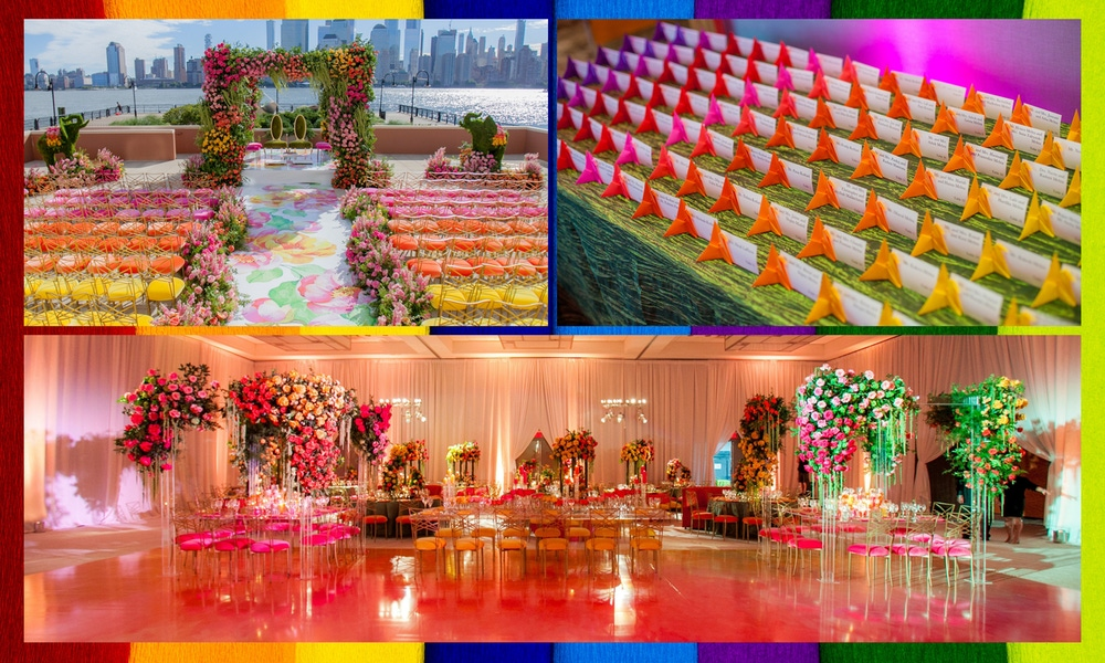 Rainbow chairs, florals, place settings and dance floor