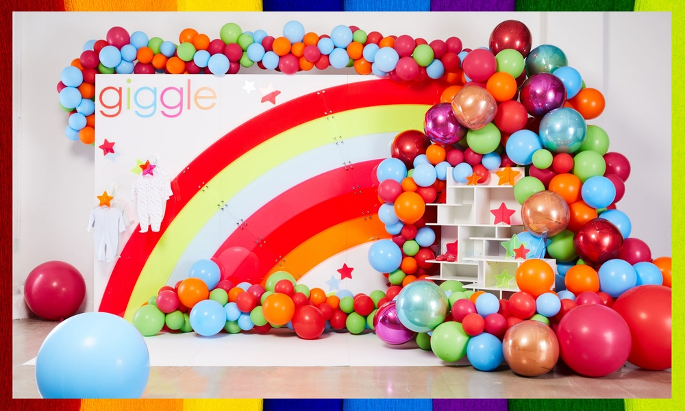 Rainbow balloons and party decor
