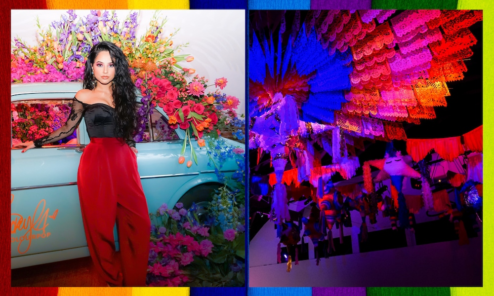 Rainbow party decor and florals
