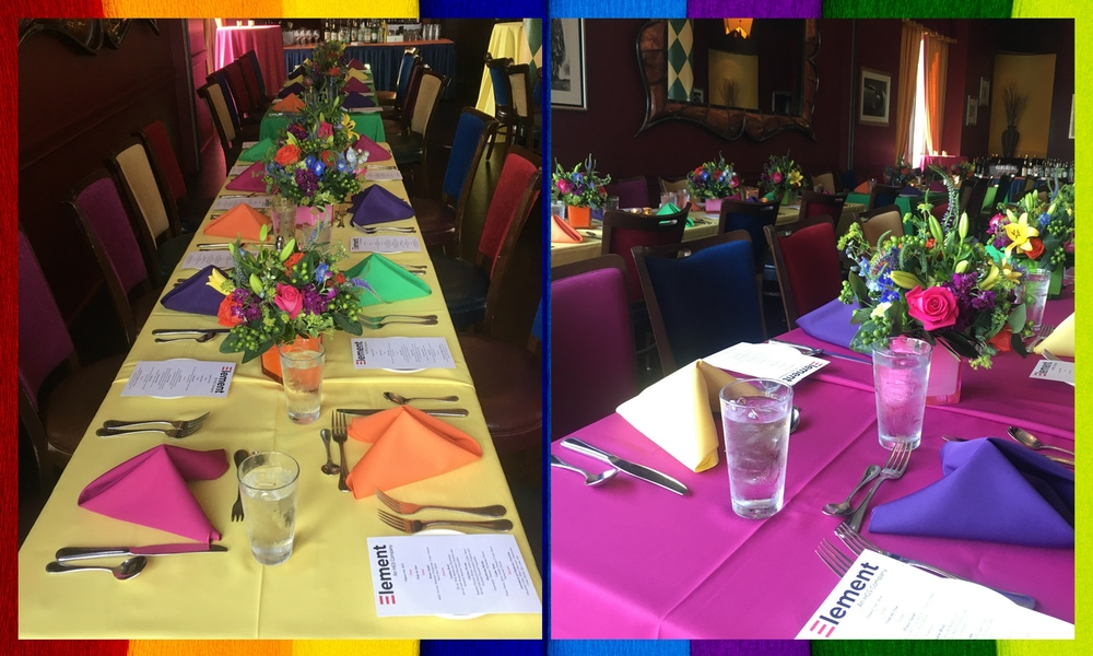Colorful table cloth and napkins