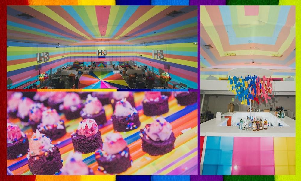 Rainbow wall decor and desserts