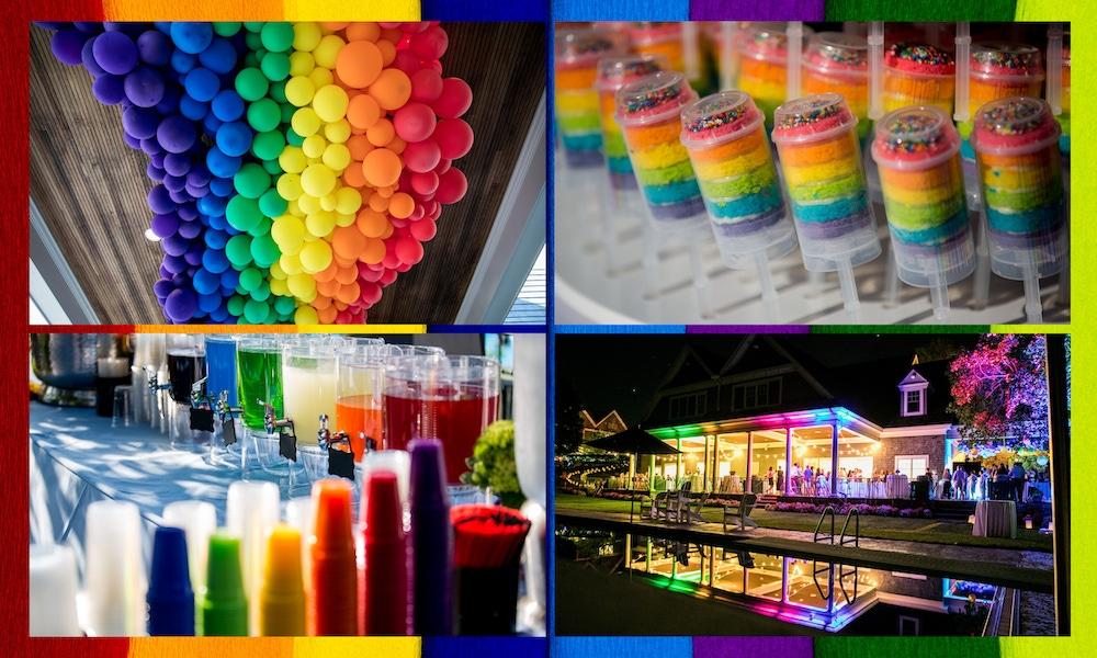Rainbow balloons, cake, cups, and lighting