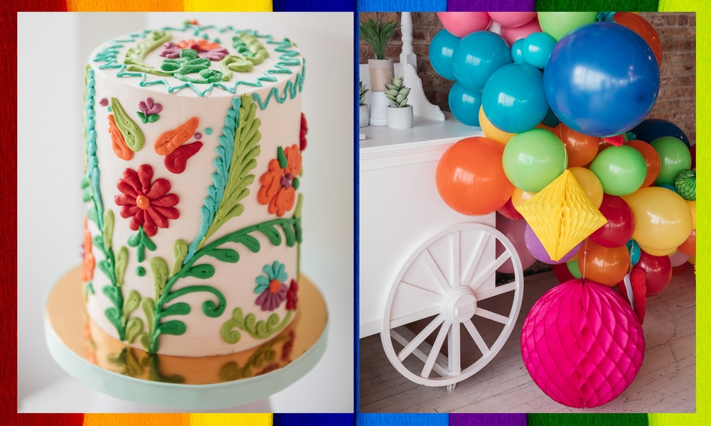 Rainbow balloons and detailed cake