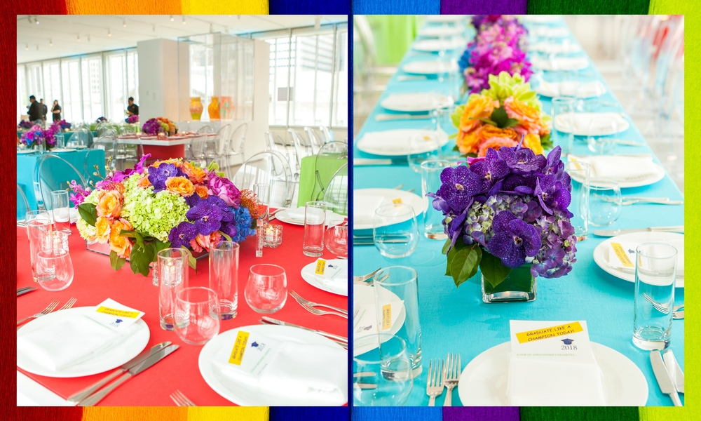 Rainbow florals and colorful table cloths