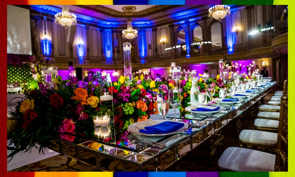 Rainbow florals and blue lighting