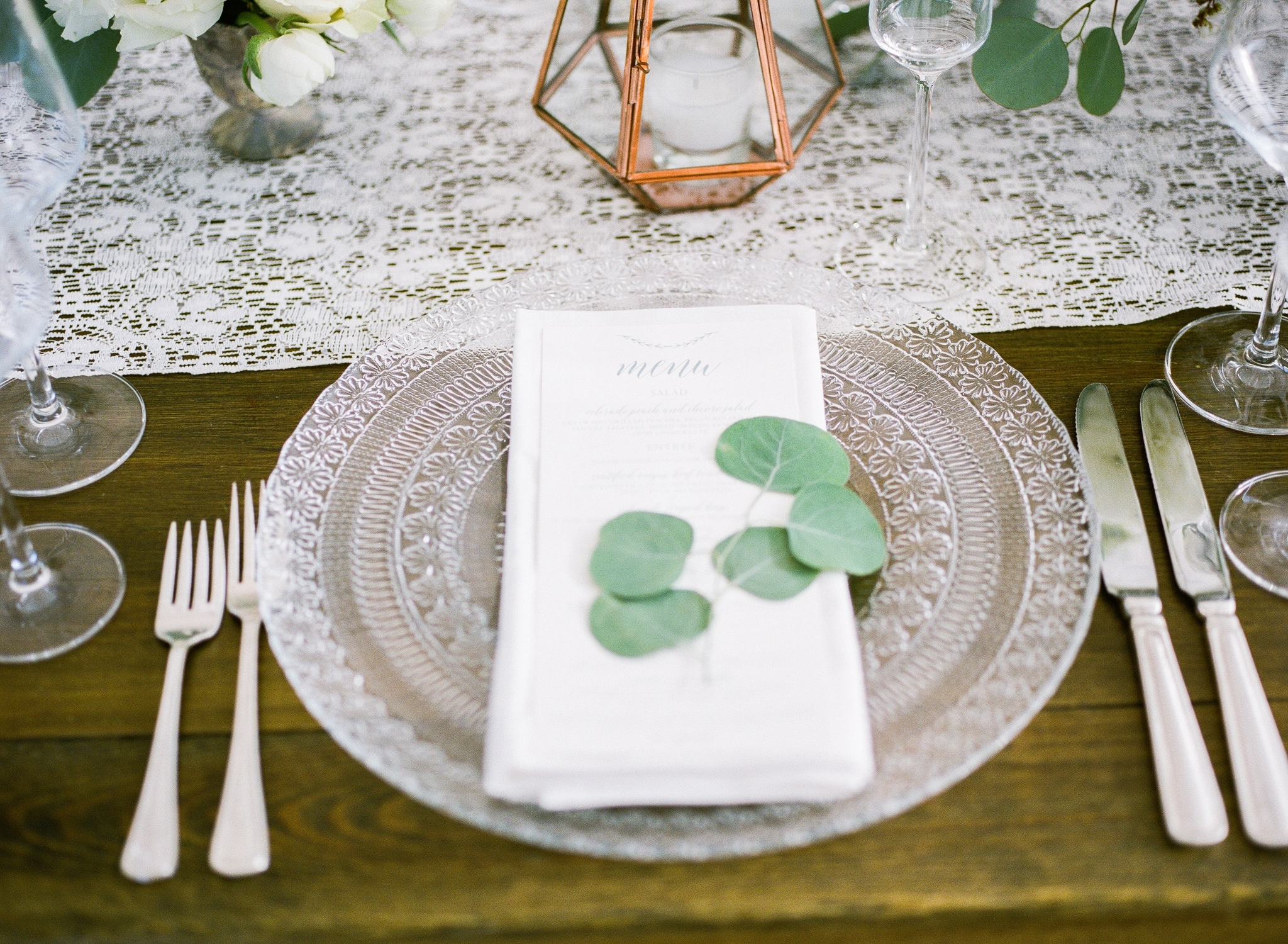 White and Green Party table setting