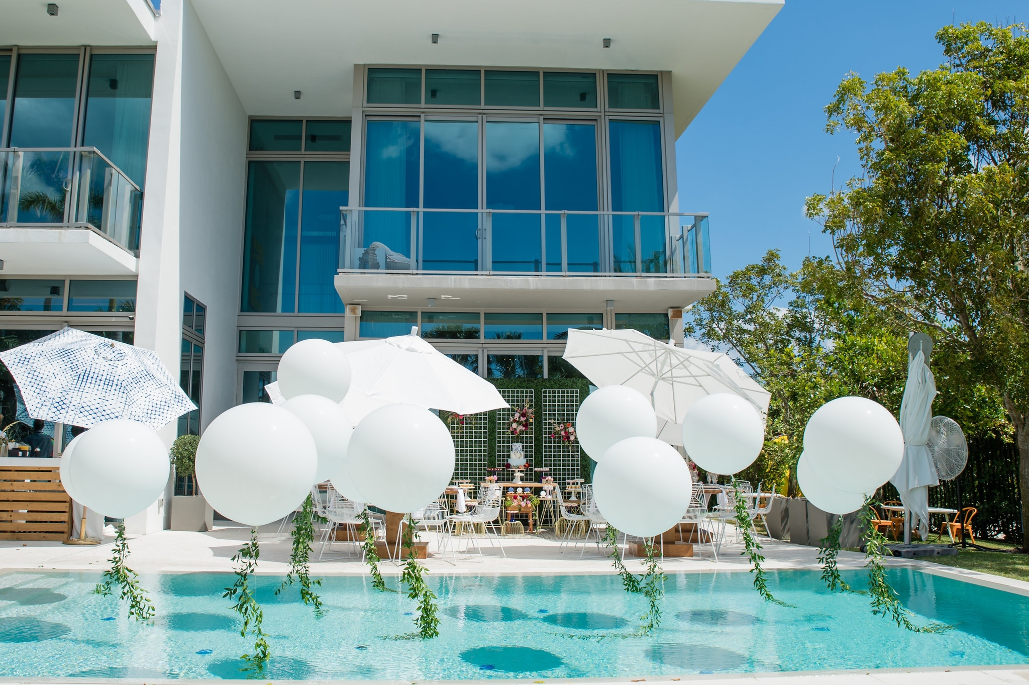 White balloons in a pool