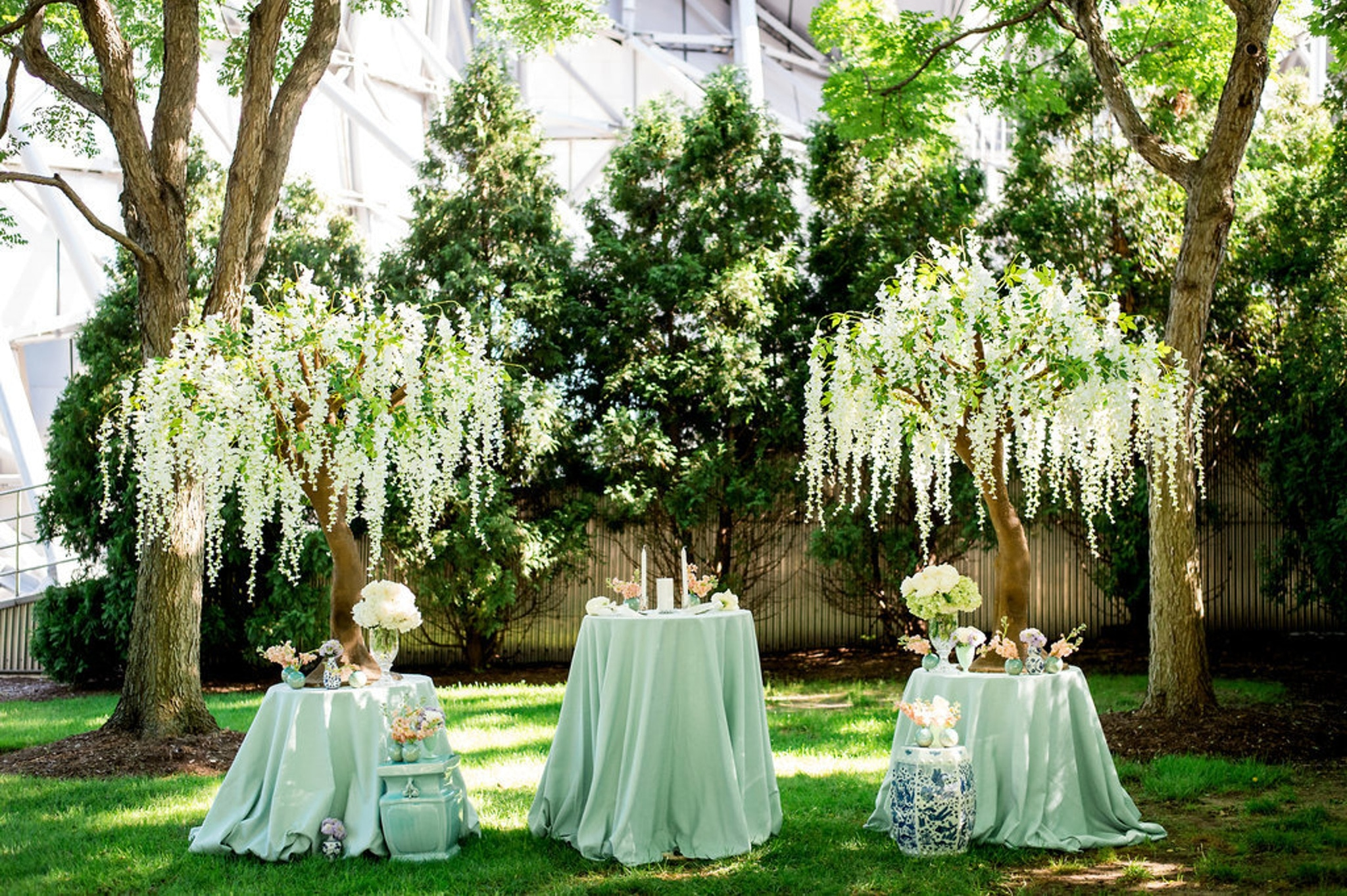 Indoor tree decor and green linens