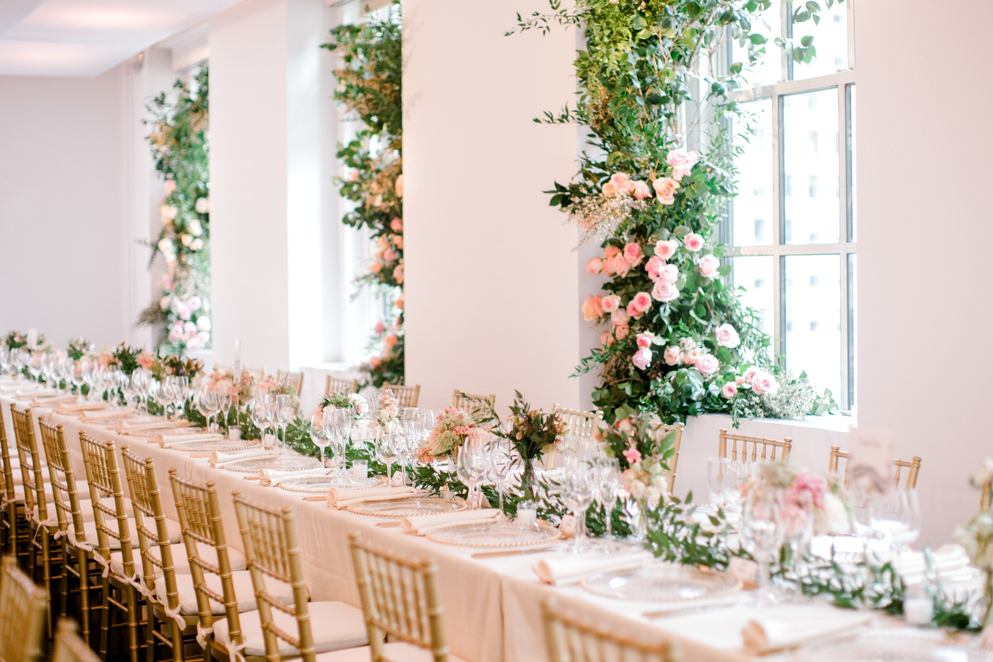 Long table with greenery accents
