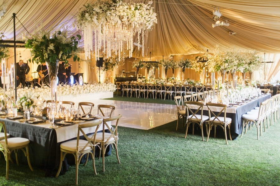 Victoria Weddings tented wedding with large white florals
