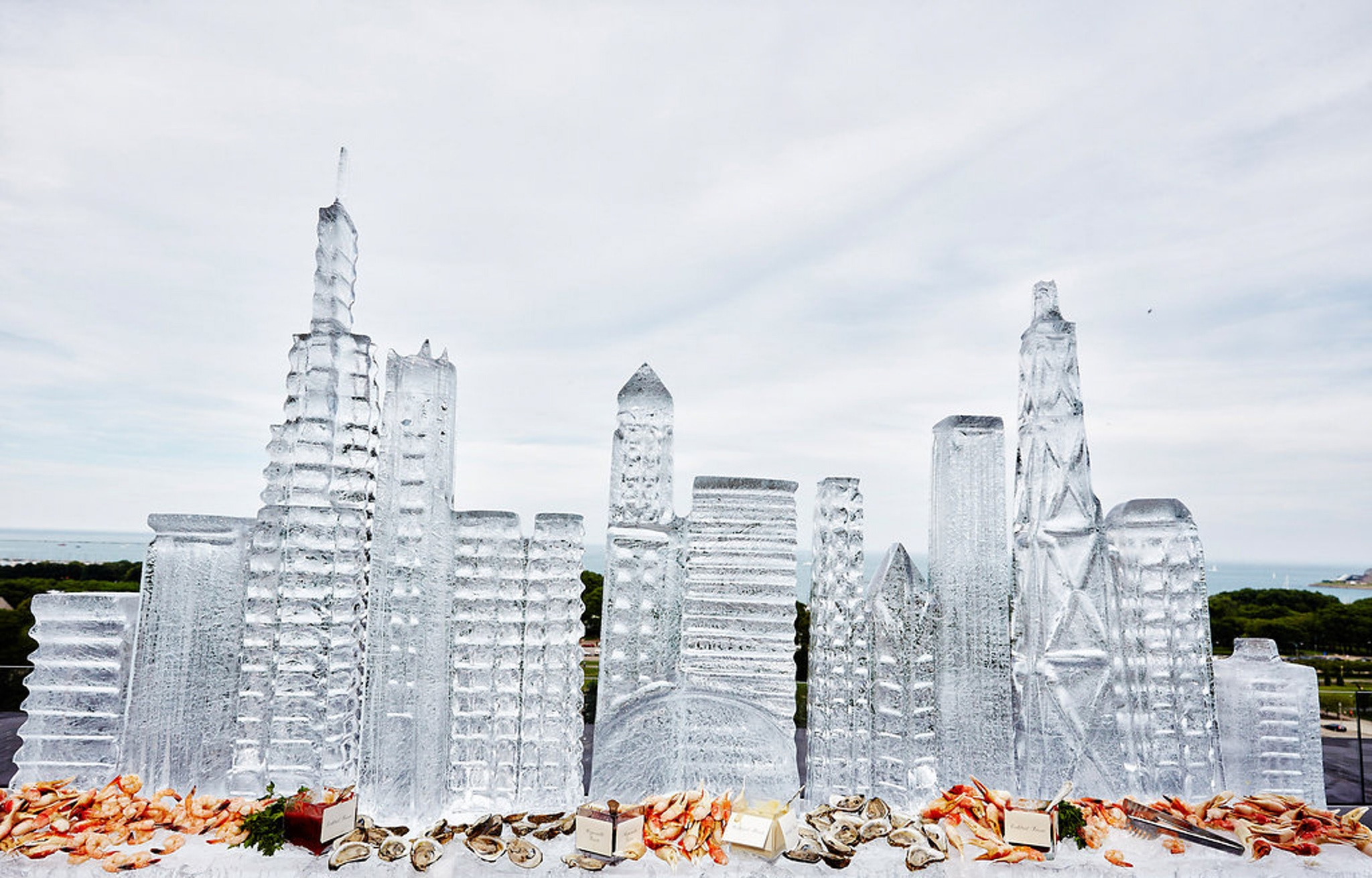 Skyline ice sculpture