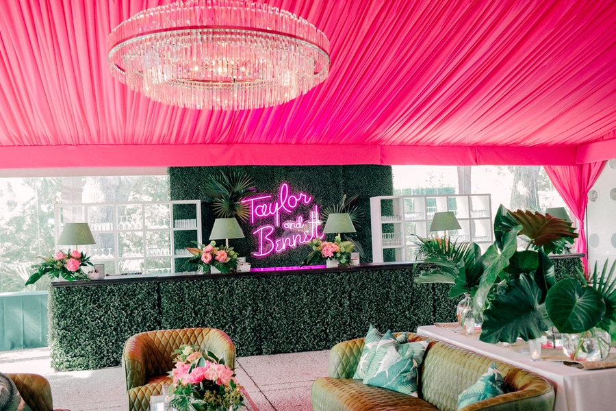greenery bar and pink ceiling drapery
