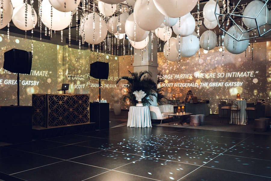 Silver and gold party with ceiling balloons