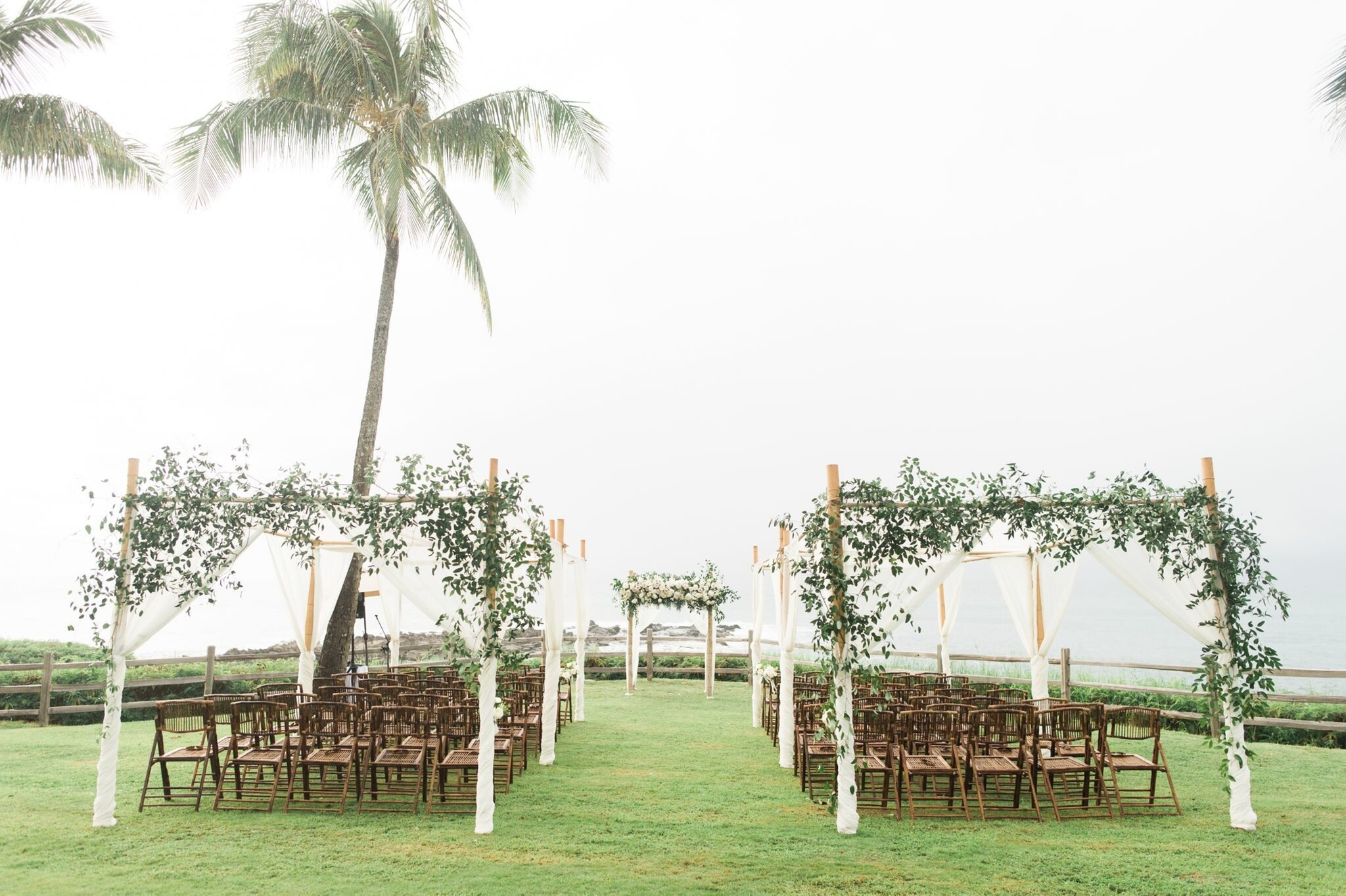 Greenery-covered guest seating