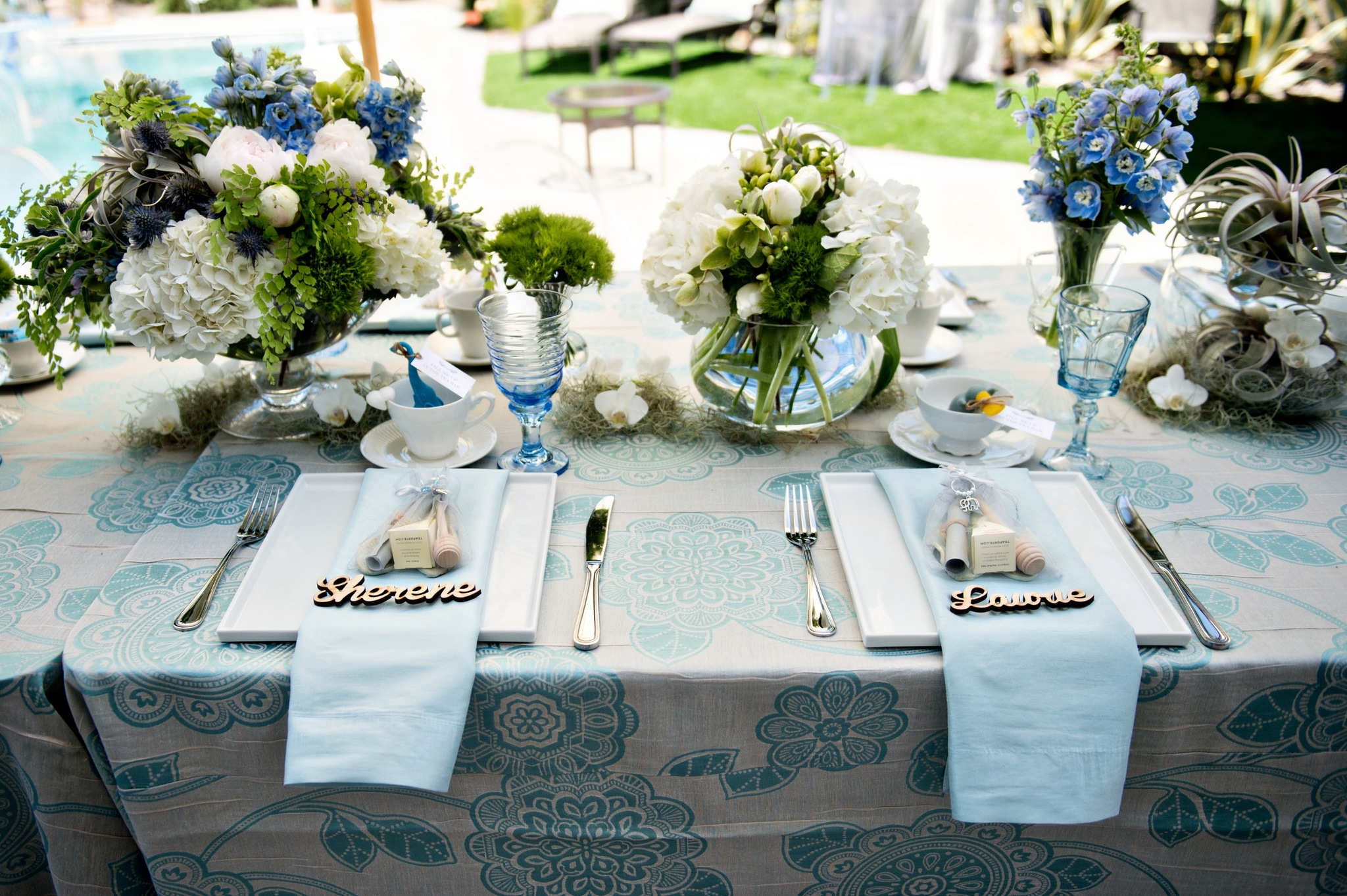 Blue and white place seating