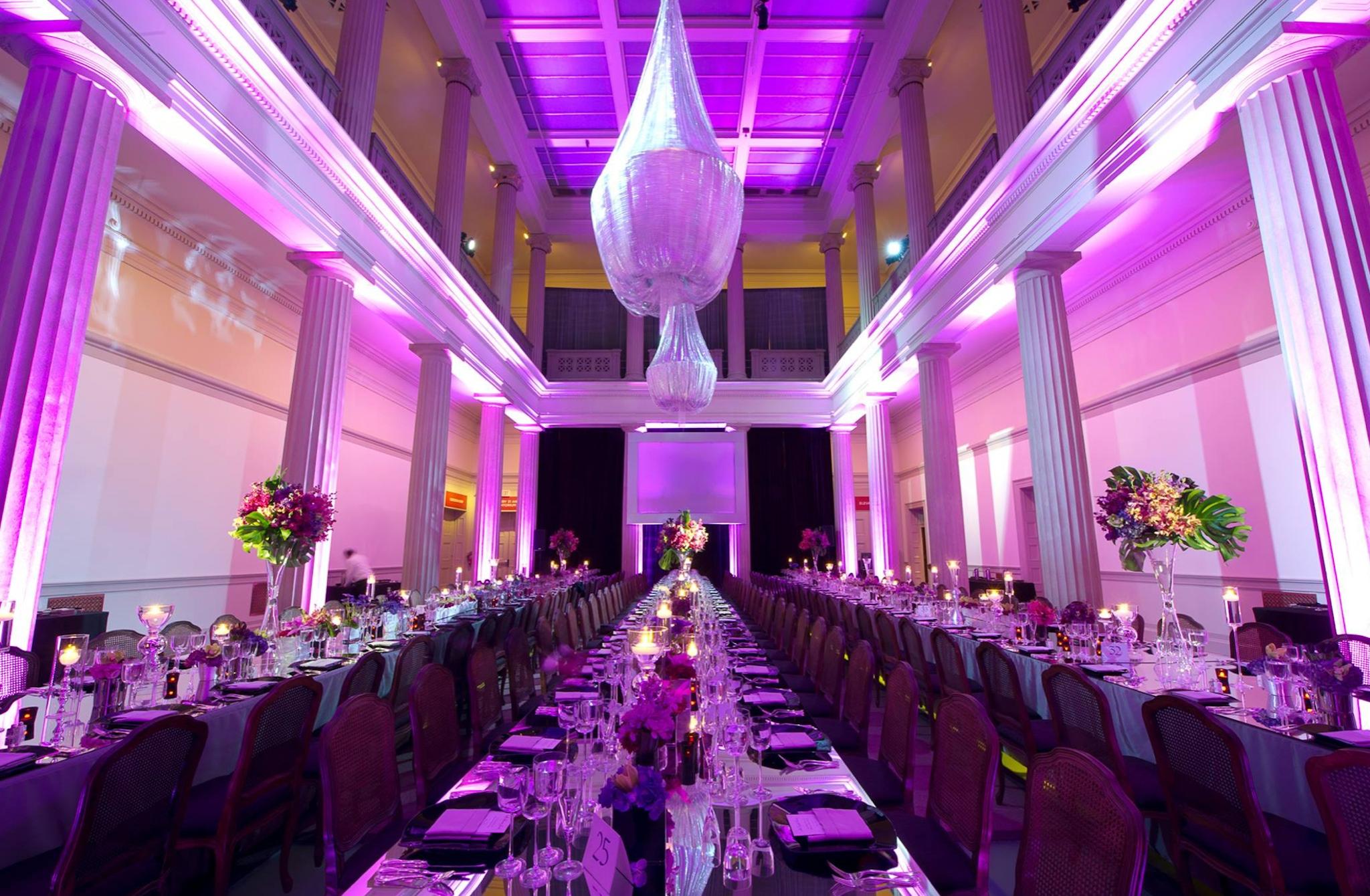 purple lit banquet room