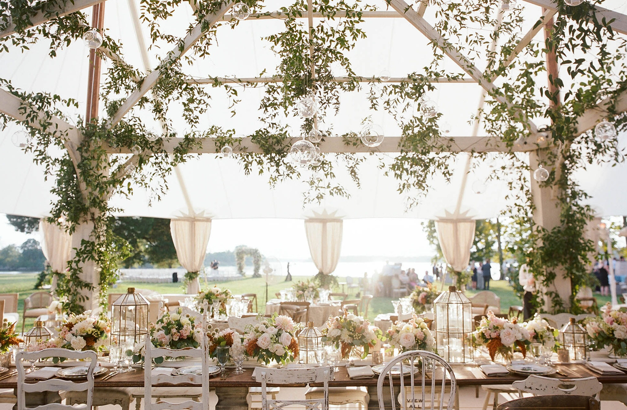 white floral and greenery decorations