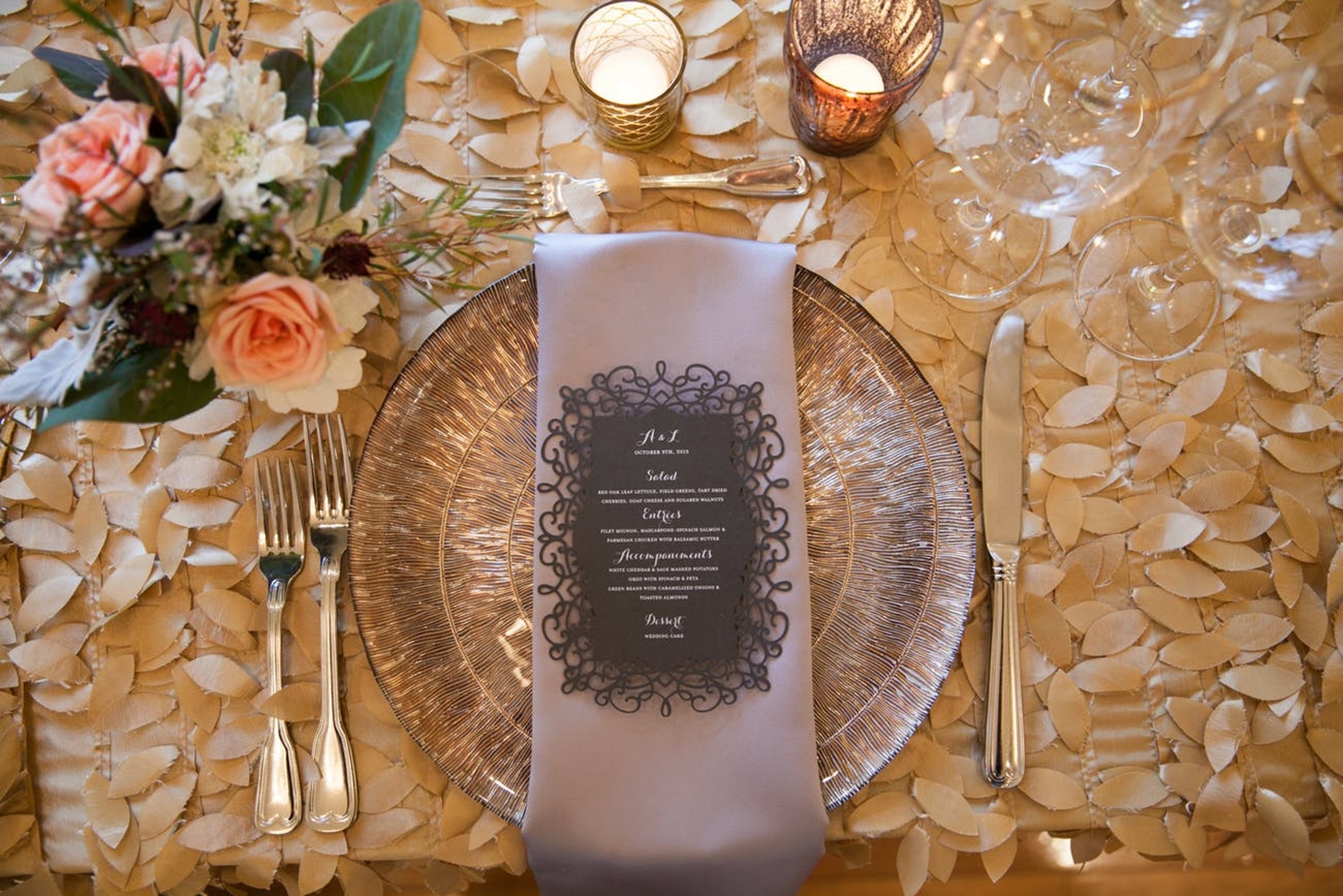 fall wedding reception table linen in gold with leaf details and elegant place setting