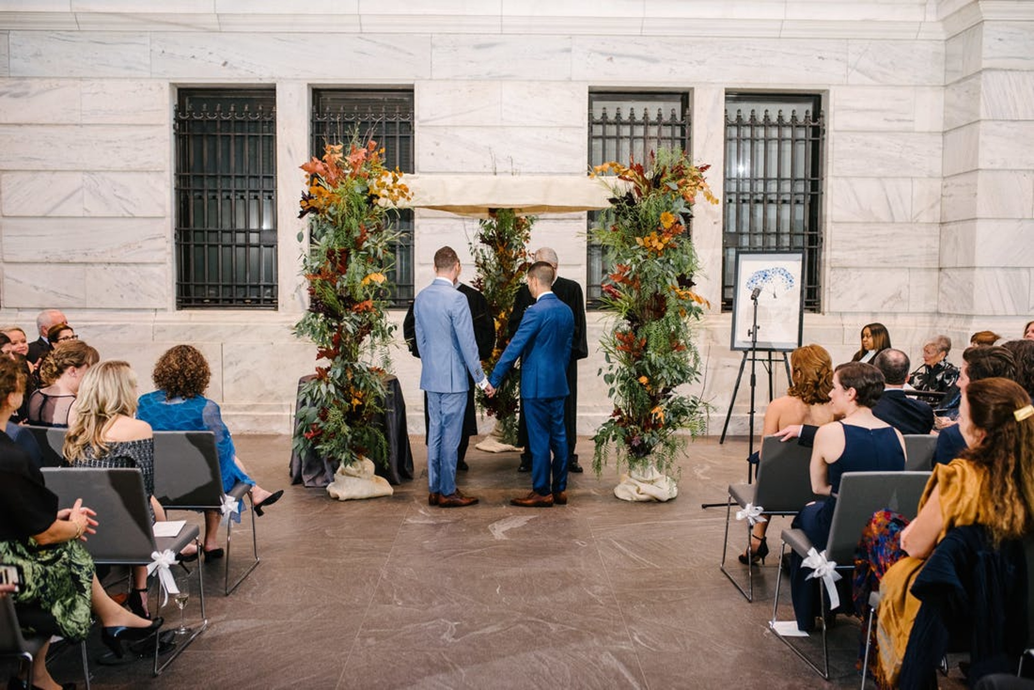 rustic fall wedding ceremony for two grooms at the Cleveland Museum of Art