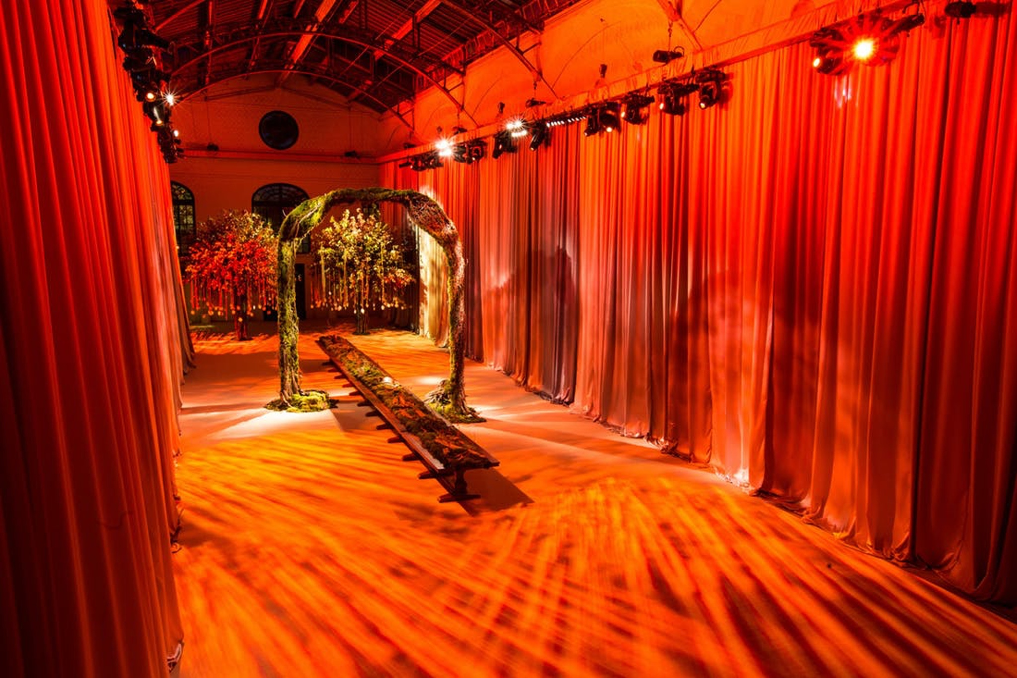 bright orange New York wedding reception entrance