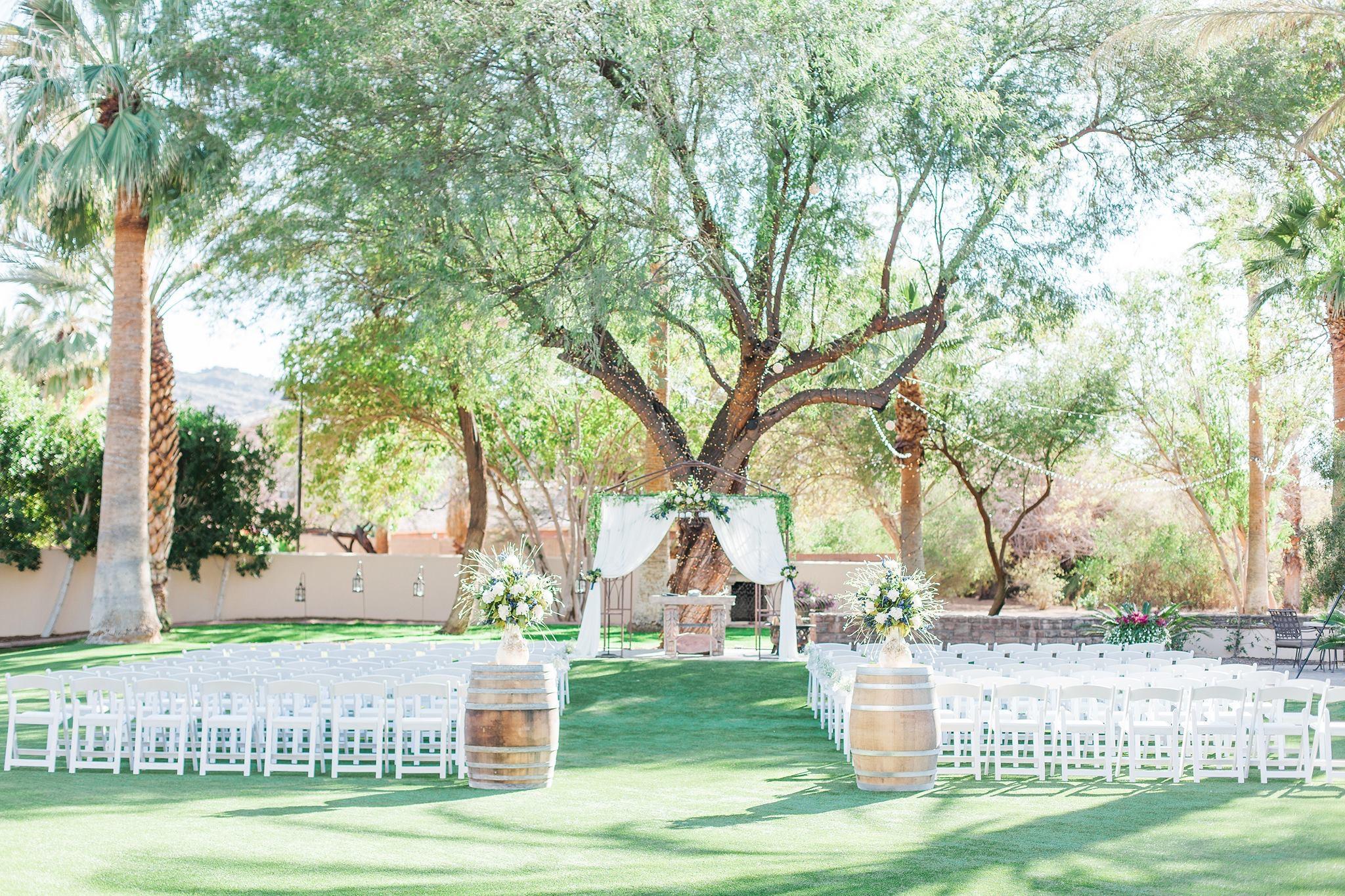 outdoor wedding ceremony set up at The Secret Garden Event Center