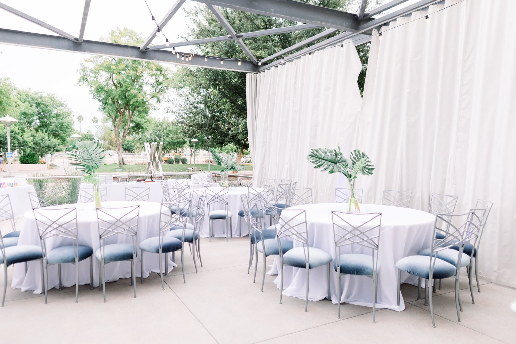 The Clayton on the Park indoor outdoor event set up with minimalistic design in Scottsdale