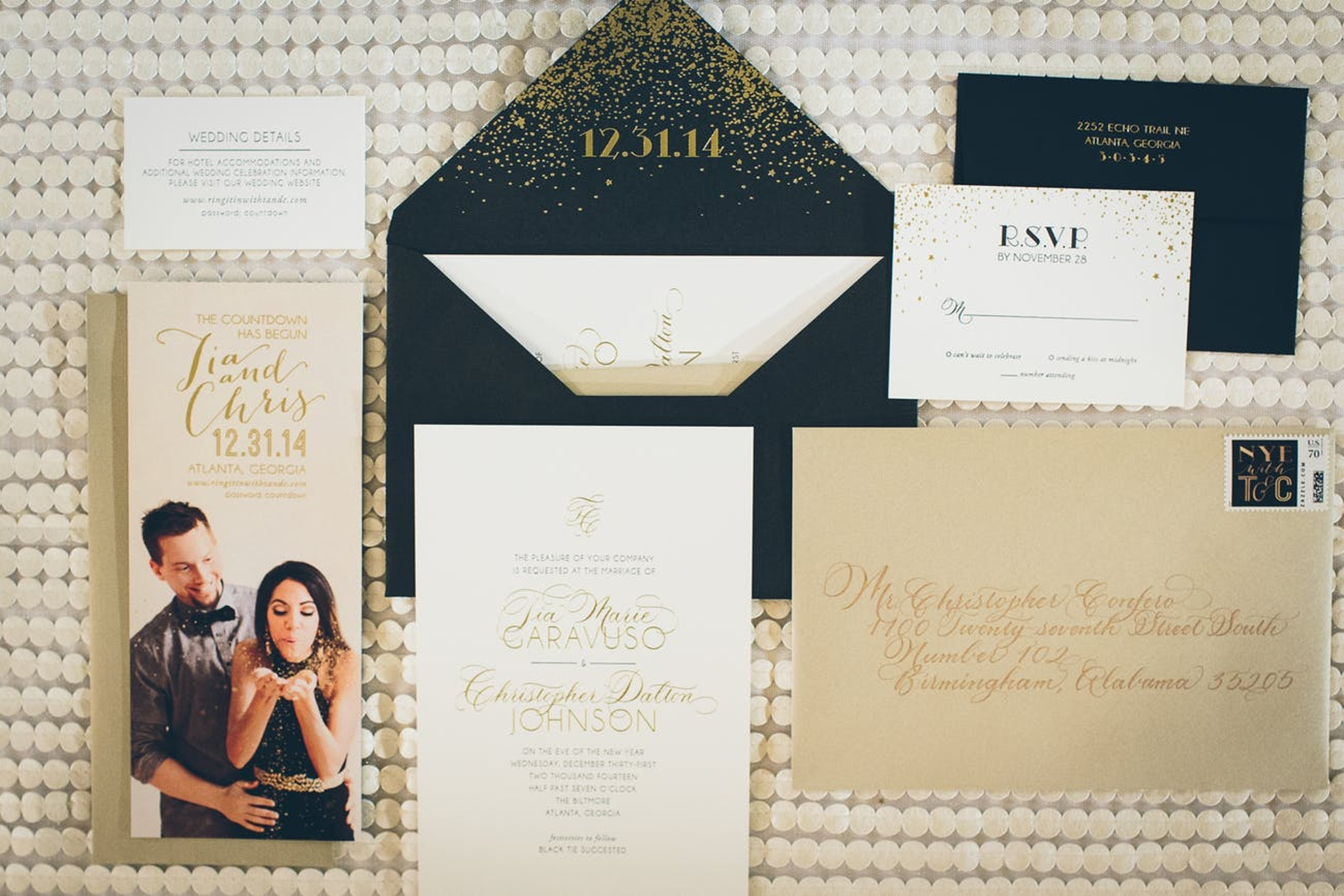 former Atlanta Braves player Chistopher Johnson and his bride Tia Garavuso's new year's eve wedding invitation suite