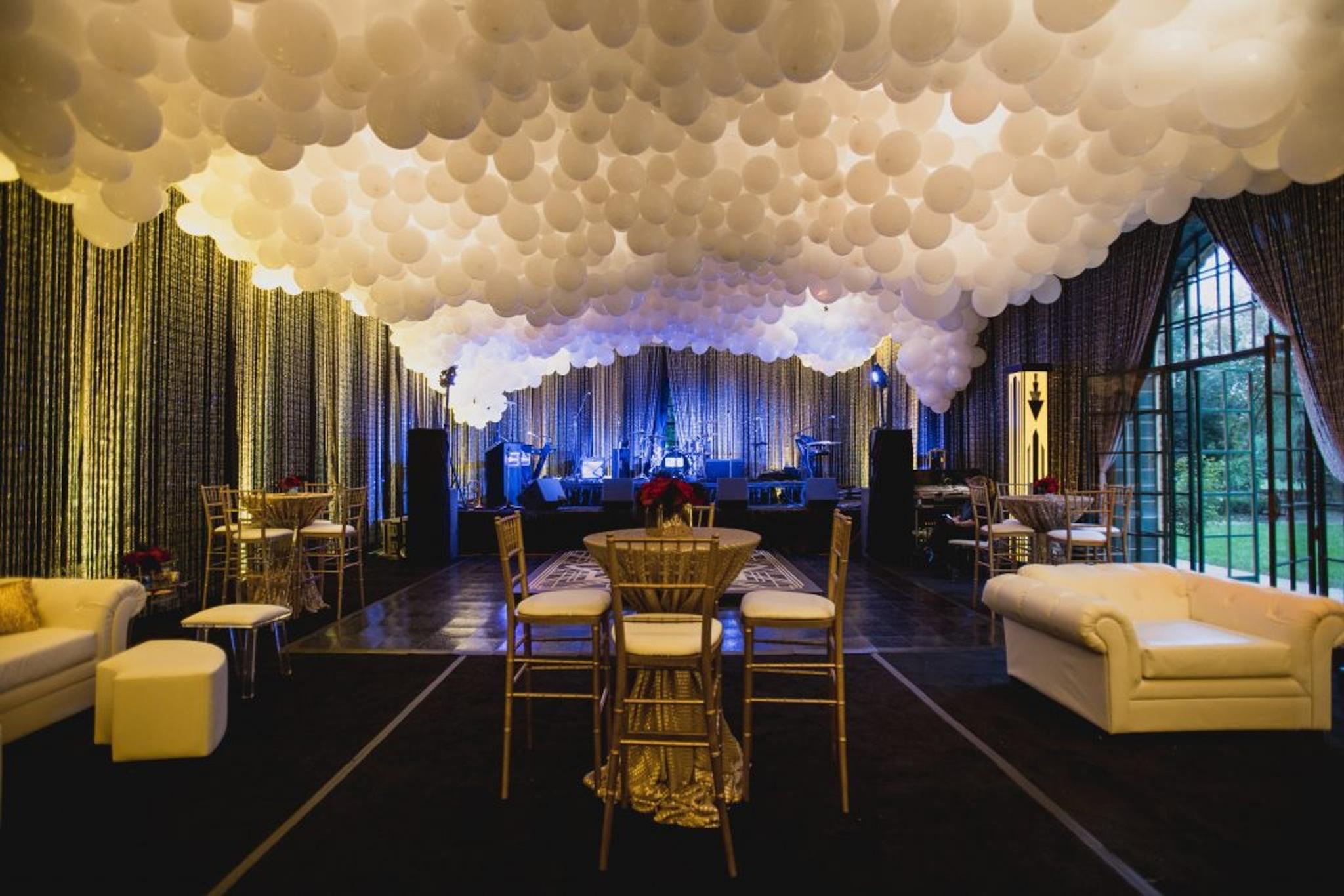 white balloon ceiling decor