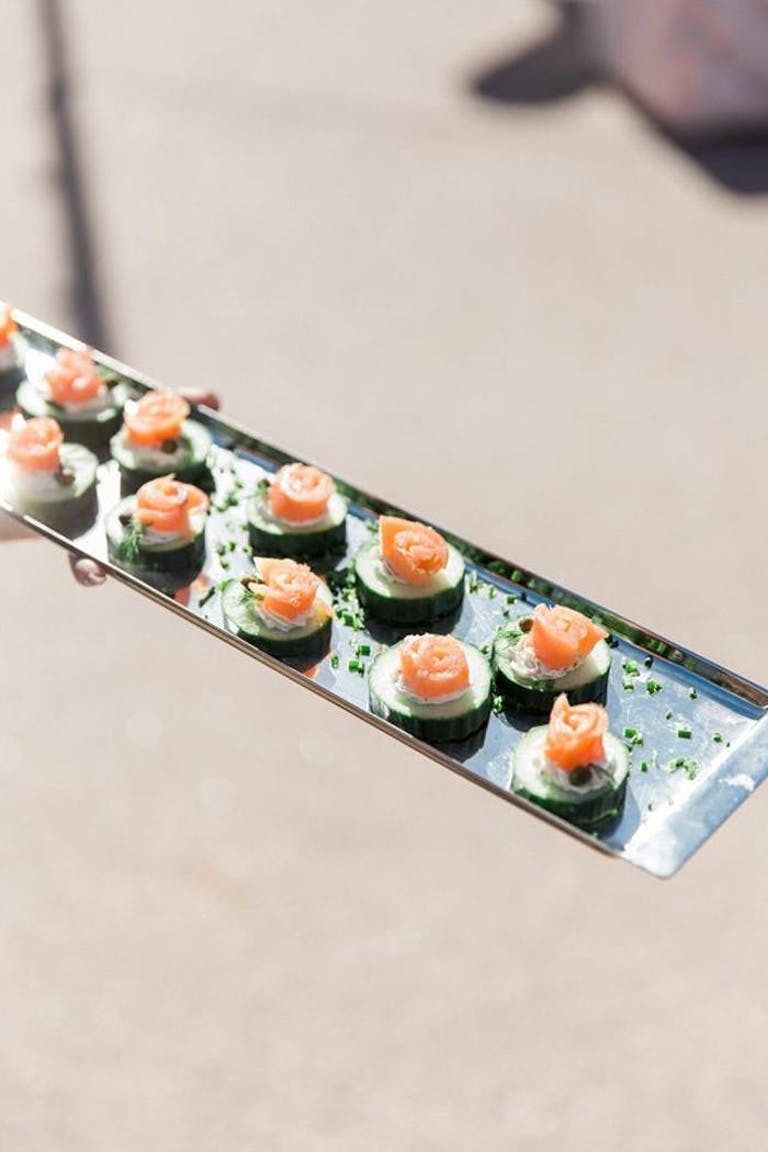 Metal tray with vegetable finger food and salmon   PartySlate