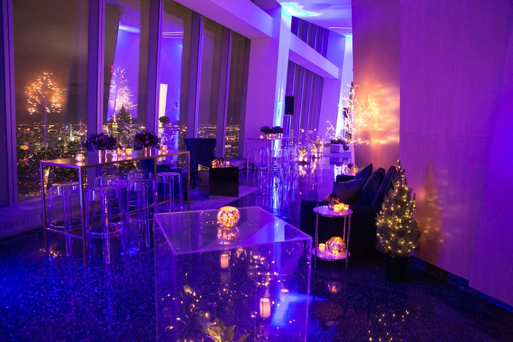 Aspire One World Observatory with purple uplighting and twinkling lights | PartySlate