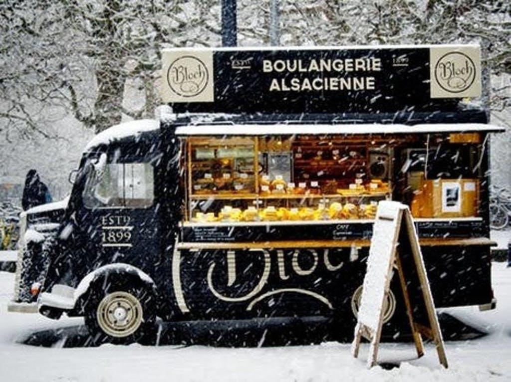 Food cart in snowy, winter scene