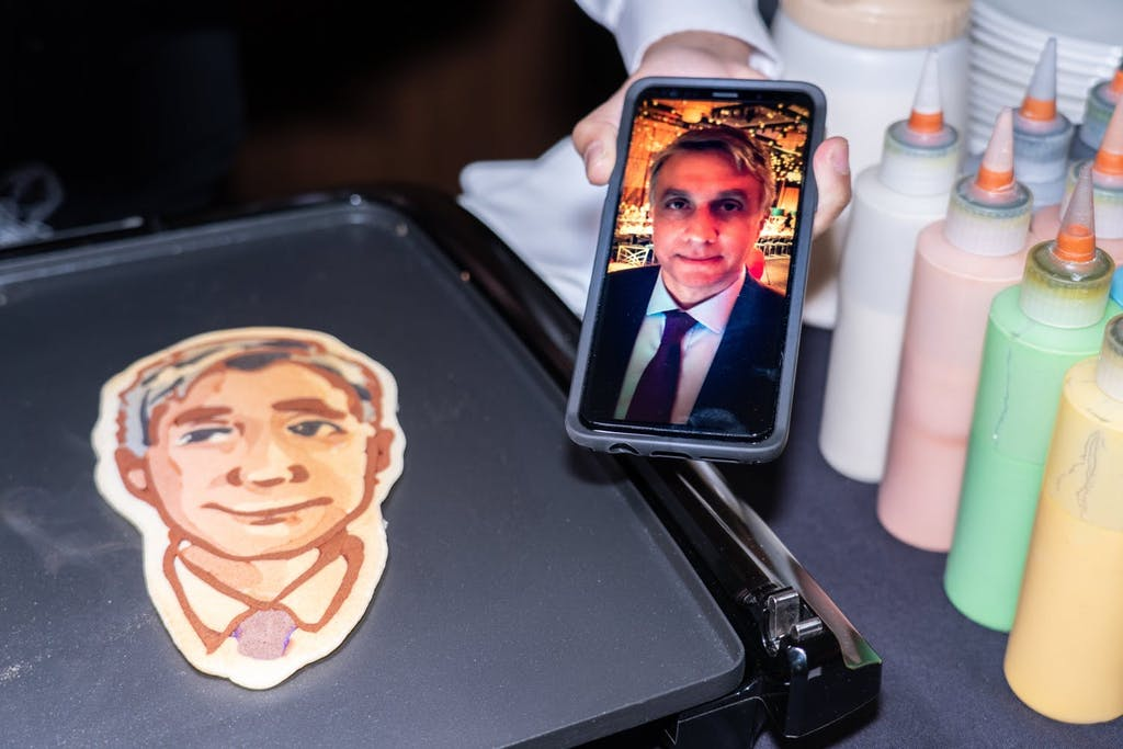 Edible crepes of projected smartphone selfies