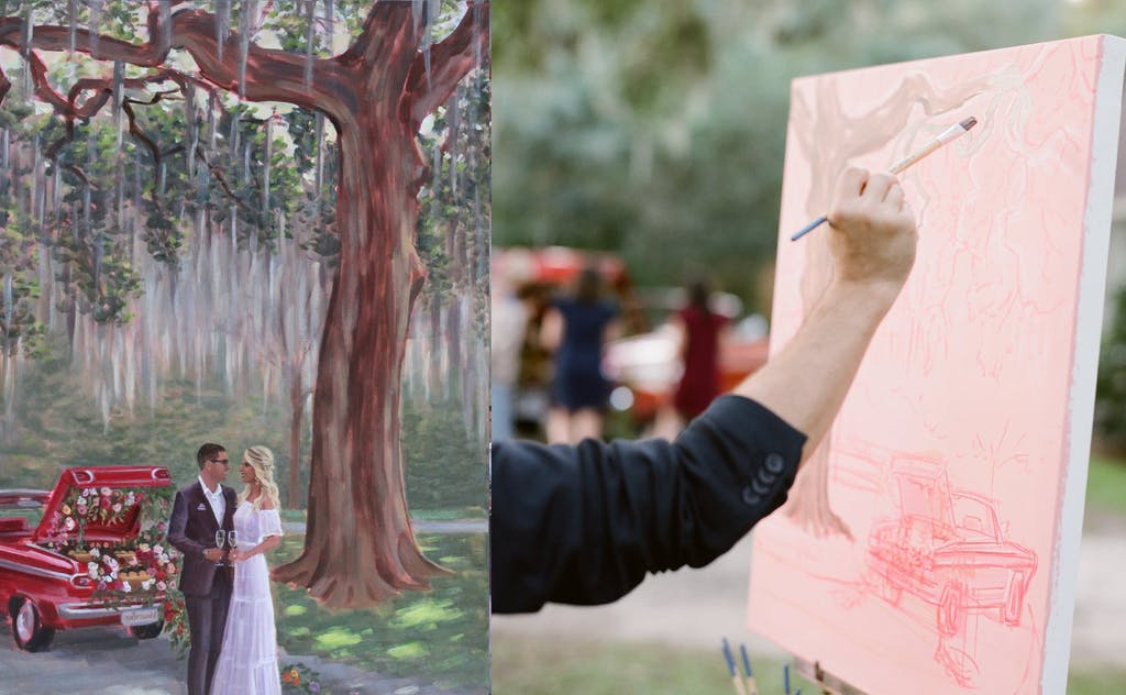 cropped photo of man painting live wedding scene