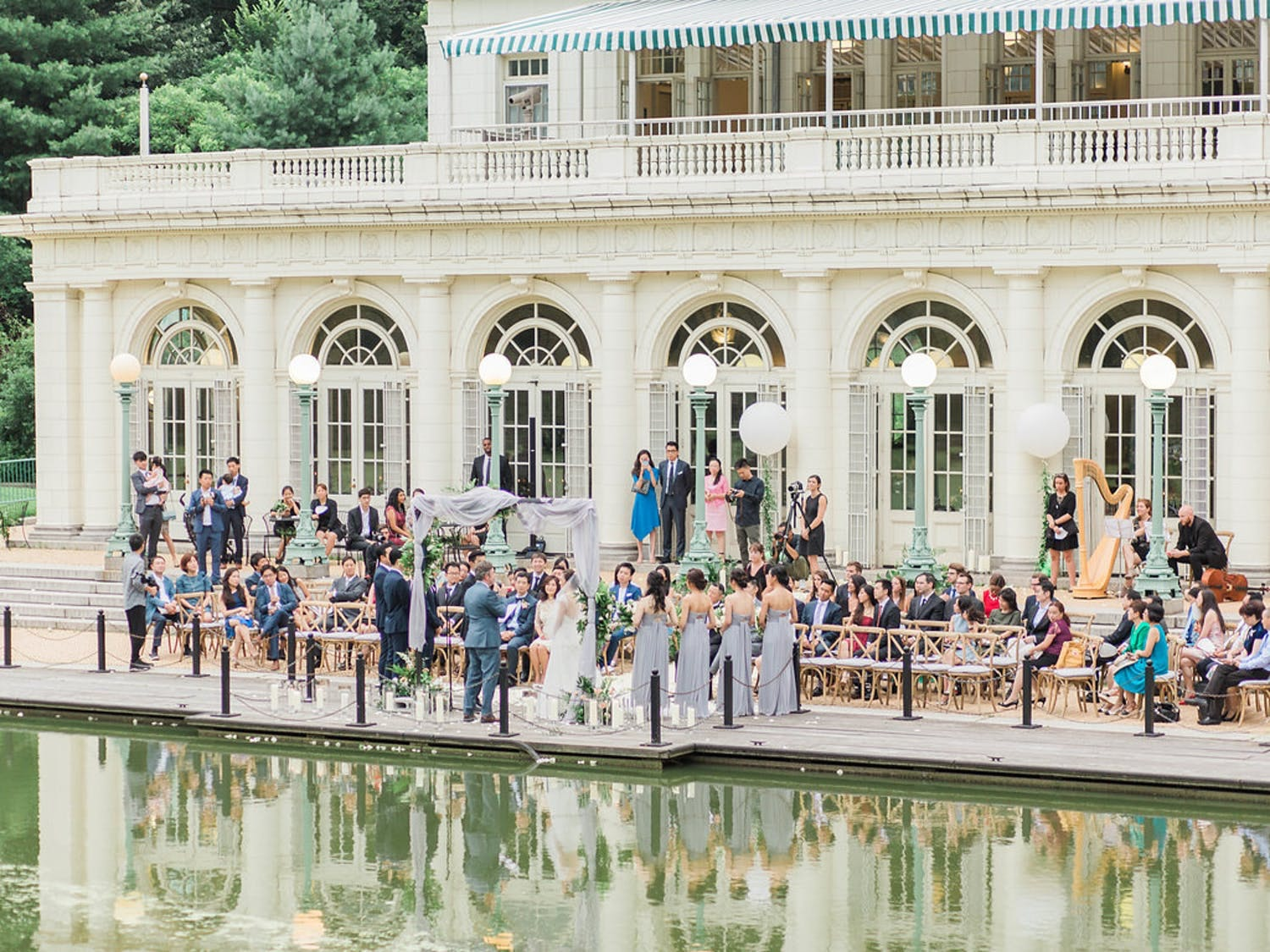 outdoor wedding at boathouse