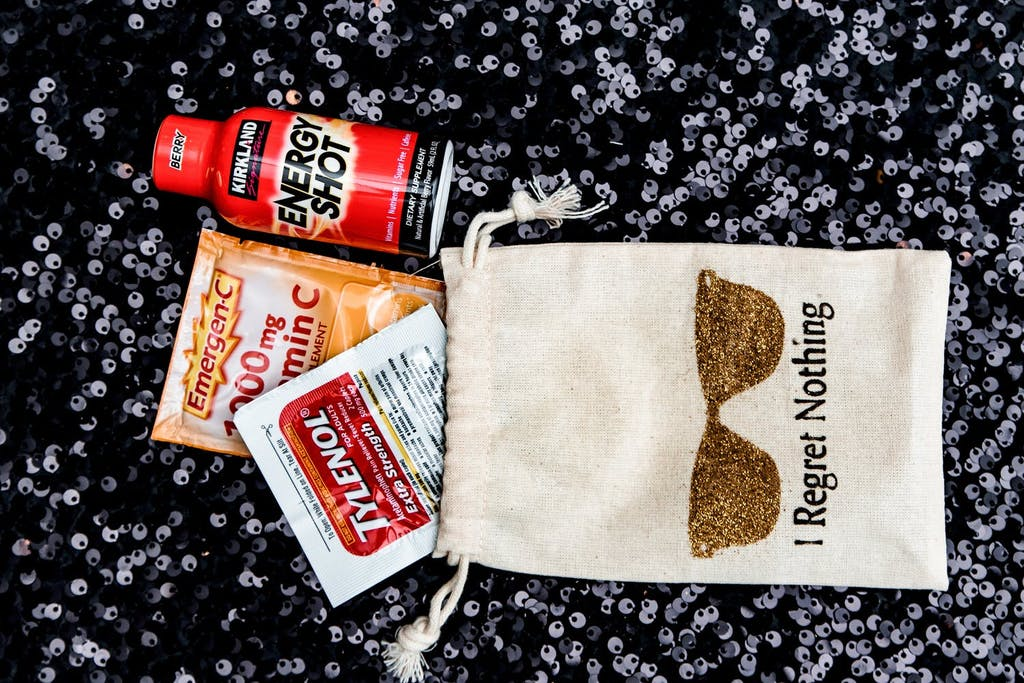 Hangover-kit party favors with TYLENOL, Energy Shot, and Emergen-C