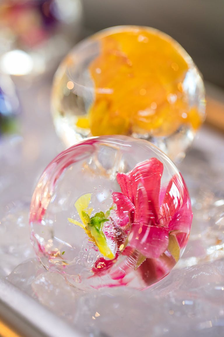 floral-infused ice spheres