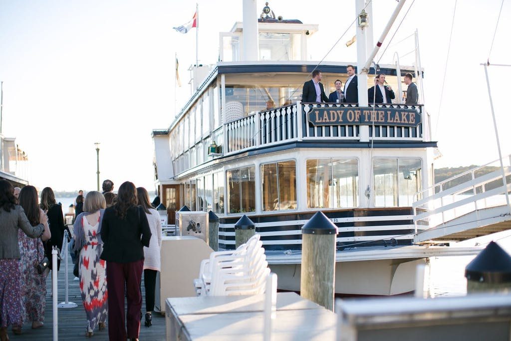 Lake Geneva Cruise Line boat at dock for a wedding rehearsal dinner party