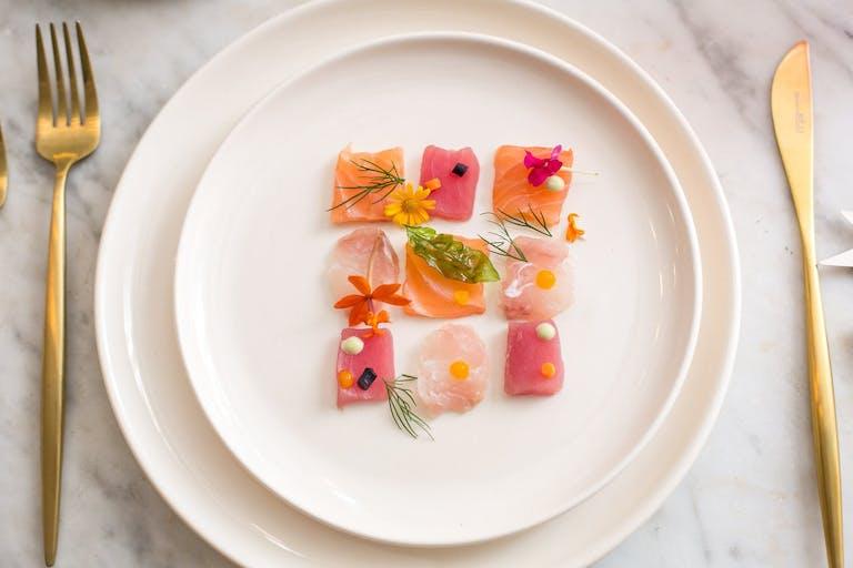 artfully plated sashimi