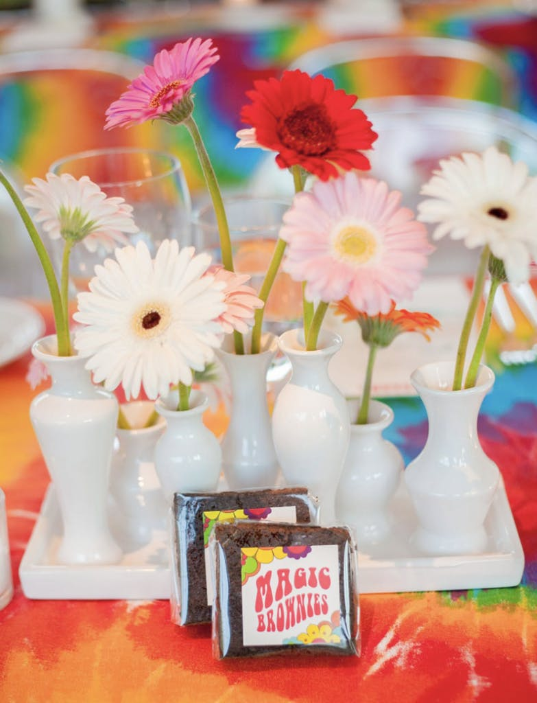 Magic-brownie party favors for 70s-themed birthday party