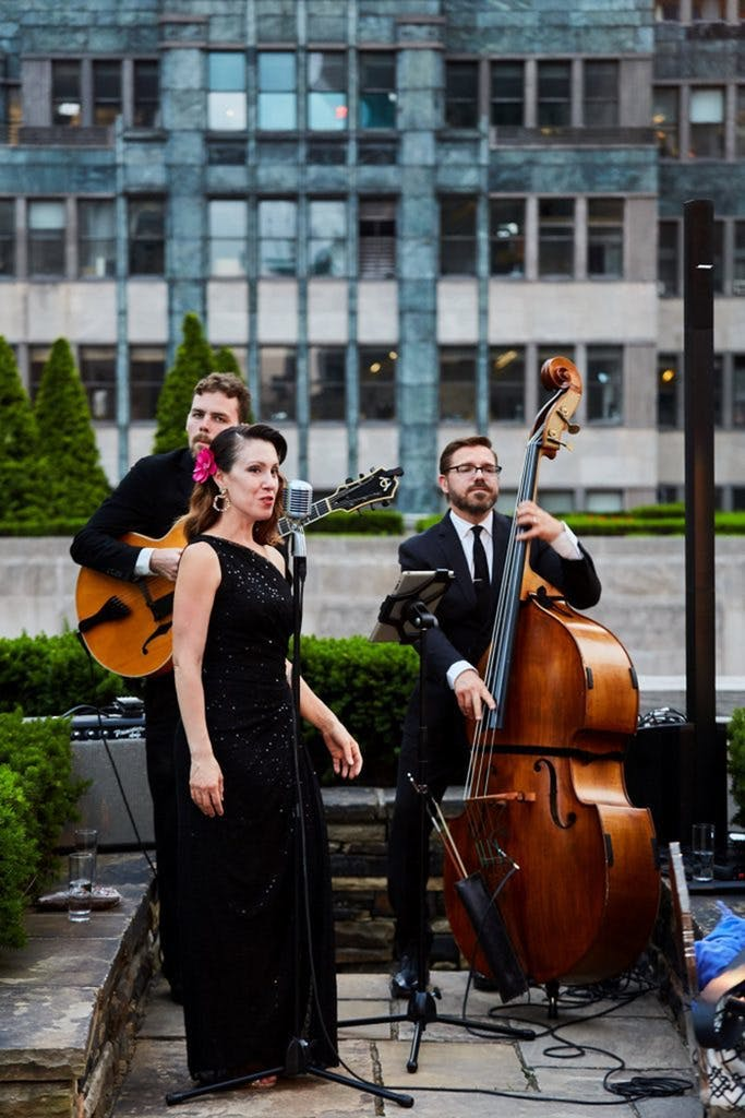 Music trio performing at 620 Loft & Garden for a wedding rehearsal dinner   PartySlate