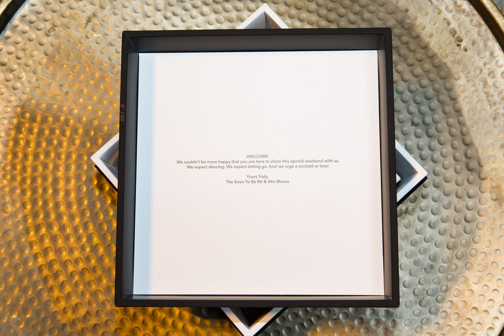 Gift box with personalized message for a wedding rehearsal dinner   PartySlate