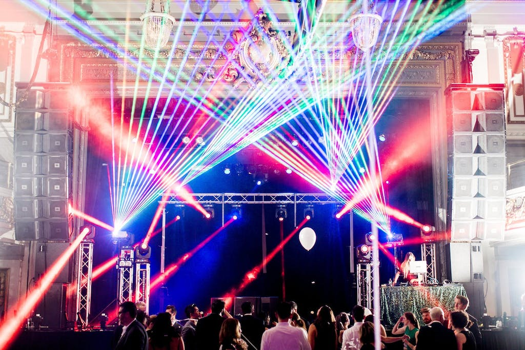 Dance hall with colorful laser light show