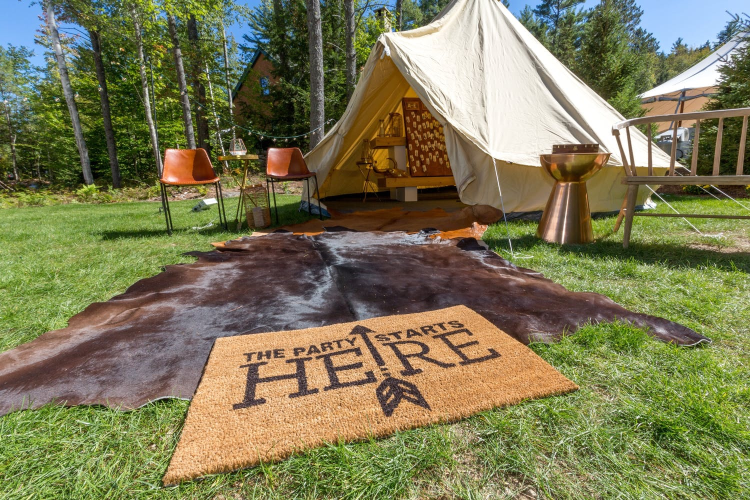 glamping set-up in woods