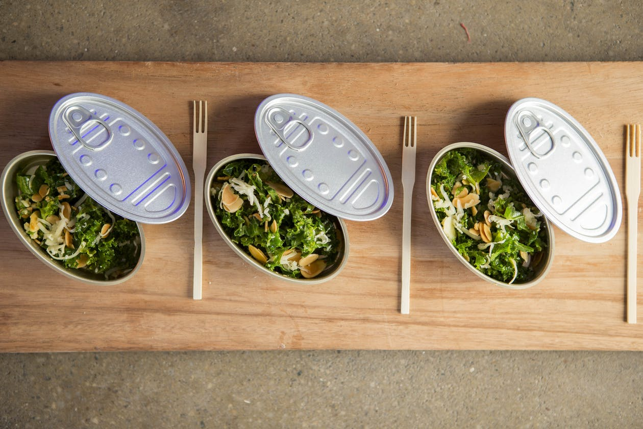 Three tins of salad